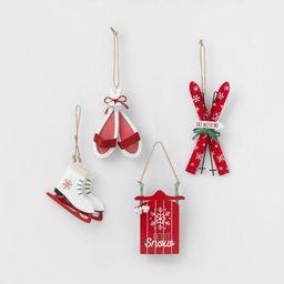 4pk Wood & Metal Skis, Sled, Snowshoes & Skates Christmas Tree Ornaments - Wondershop&#84...   Target