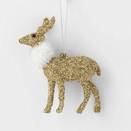 Glitter Deer with Fur Scarf Christmas Tree Ornament Gold - Wondershop™   Target