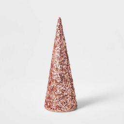 Small Sequin Tree Cone Decorative Figurine Blush - Wondershop™   Target