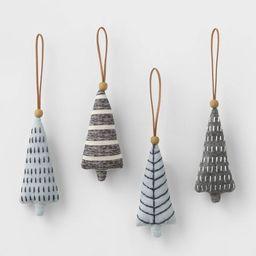 4ct Felt Tree with Stitching Christmas Ornament Set - Wondershop™   Target