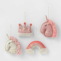 4ct Felt Unicorn & Rainbow Christmas Ornament Set - Wondershop™   Target