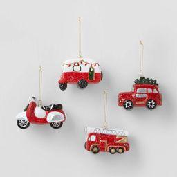 4ct 3D Glitter Vehicle Christmas Ornament Set - Wondershop™   Target