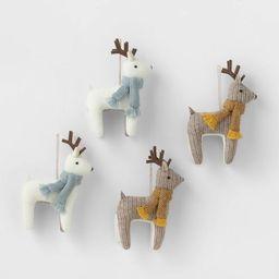 4pk Reindeer Christmas Tree Ornaments White/Brown - Wondershop™   Target
