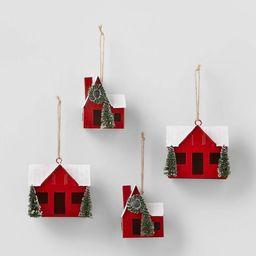 4pk Metal Cabin Christmas Tree Ornament Red - Wondershop™   Target