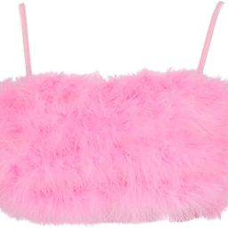 Vimoisa Women Faux Fur Tank Top Spaghetti Strap Crop Cami Top Tight Sleeveless Tube Top Vest   Amazon (US)