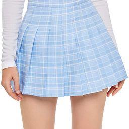 SweatyRocks Women's Casual High Waist Plaid A Line Pleated Mini Skirt   Amazon (US)
