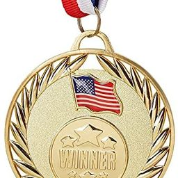 Juvale 12-Pack Bulk Metal Gold Winner Award Medals with Ribbons for Sports and Competitions, 2.7 ...   Amazon (US)