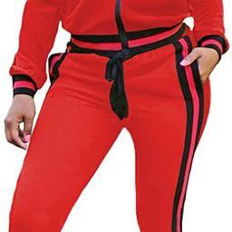 Akmipoem Women's 2 Pieces Outfits Long Sleeve Zipper Jacket and Pants Set Tracksuits   Amazon (US)