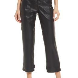 Pistola Tammy High Waist Button Fly Faux Leather Trousers, Size 26 in Slate Black at Nordstrom | Nordstrom