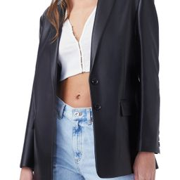 French Connection Crolenda Faux Leather Blazer, Size 10 in Black at Nordstrom | Nordstrom
