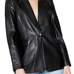Bardot Oversize Faux Leather Blazer, Size Medium in Black at Nordstrom | Nordstrom