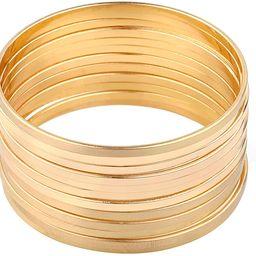 Nicole Miller New York Gold Multibangle Set of 12 Plain Matte Glossy Bangle Bracelets   Amazon (US)