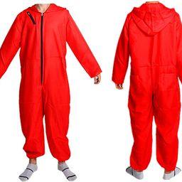 Unisex red jumpsuit Halloween party costume full set +mask | Amazon (US)