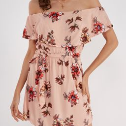 Off-The-Shoulder Ruffle Design Random Floral Print Dress | YOINS