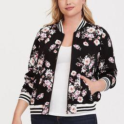 Black Floral Twill Bomber Jacket | Torrid
