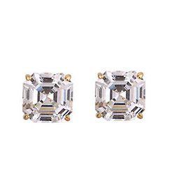 Diamonique 4.00 ct tw Asscher Stud Earrings, 14 K Gold   QVC