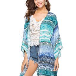 Kimono Cover Ups Boho Printed Long Sleeve Ocean Blue Women Beach Swimwear   Milanoo