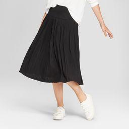 Women's Pleated Knit Midi Skirt - A New Day Black 10   Target