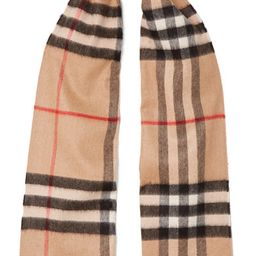 Burberry - Fringed Checked Cashmere Scarf - Camel   Net-a-Porter (Global excpt. US)