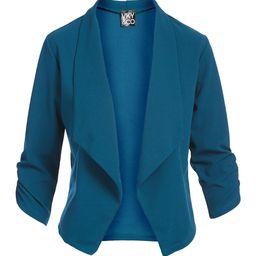 Teal Crepe Knit Three-Quarter Sleeve Open Blazer - Women & Plus   Zulily