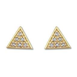 Triangle Earrings with Diamonds 10K Yellow Gold   Kay Jewelers