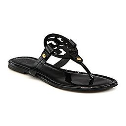 Tory Burch Women's Miller Patent Leather Logo Thong Sandals - Sand - Size 9 | Saks Fifth Avenue