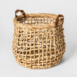 """13.8"""""""" x 11.8"""""""" Decorative Water Hyacinth Basket with Leather Handles Natural - Threshold , White 