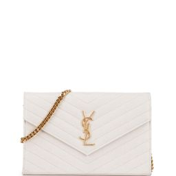 Monogram Matelasse Wallet-On-A-Chain, White (Blanc Grise), Women's - Saint Laurent | Neiman Marcus
