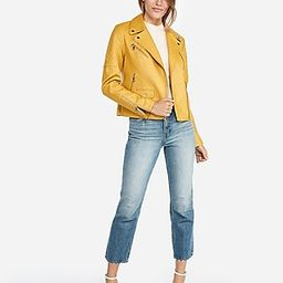 Express Womens Faux Leather Quilted Moto Jacket Yellow Women's Xxs Yellow Xxs | Express