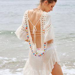 Crochet Insert Backless Tassel Tie Pom Pom Cover Up | SHEIN