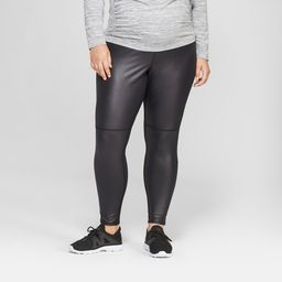 Maternity Plus Size Faux Front Leather Active Leggings - Isabel Maternity by Ingrid & Isabel Black 1X, Women's | Target