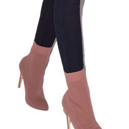 Shoedazzle Booties Angelique Sock Bootie Womens Pink Size Standard Width | ShoeDazzle