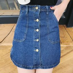 Buttoned Denim A-Line Skirt   YesStyle Global