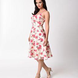 Voodoo Vixen Cream & Pink Floral Checkered Organza Swing Dress | UniqueVintage