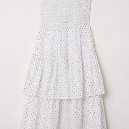 H & M - Strapless Flounced Dress - White | H&M (US)