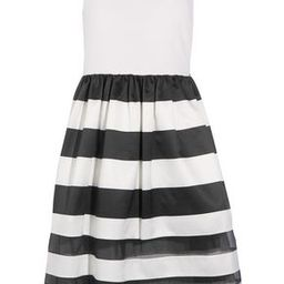 Alice+olivia Woman Larue Stretch-twill And Striped Silk-chiffon And Satin Midi Dress White Size 6 | The Outnet Global