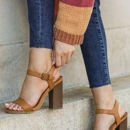 Shut It Down Tan Ankle Strap Heels | Red Dress