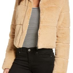 Women's Tiger Mist Bridget Faux Fur Puffer Jacket, Size Medium - Beige   Nordstrom