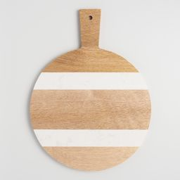 Small Round White Marble and Wood Paddle Cutting Board by World Market   World Market