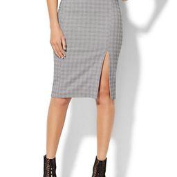 7th Avenue - Pencil Skirt - Black & White Plaid   New York & Company