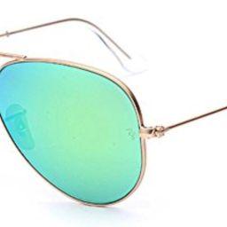 Ray-Ban Aviator 112/19 Aviator Sunglasses,Matte Gold/Green Mirror Lens,58 mm   Amazon (US)