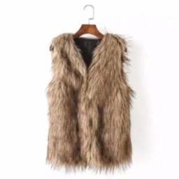 Faux Fur Vest   SHEIN