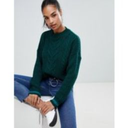 Boohoo cable knit jumper in green - Green | ASOS BE