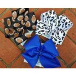Blue and White Football Bow Set, Football bow, Set of 3 bundle, Glitter bow, White bow, Black bow, Animal print bow, Cheetah bow, Blue bow   Etsy (US)