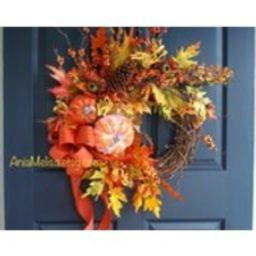 Fall wreath, Fall wreaths, Autumn wreaths front door wreaths orange brown berry wreaths for front door wreaths Thanksgiving wreaths outdoor   Etsy (US)