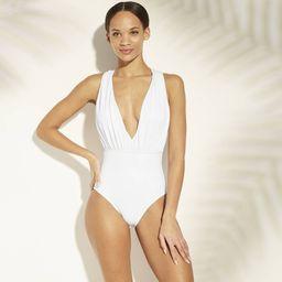 Sea Angel Women's Bridal Plunge Cross Back One Piece Swimsuit - White S | Target