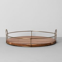 """16"""""""" Round Wood and Wire Tray - Hearth & Hand with Magnolia, Gray   Target"""