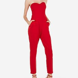 Express Womens Strapless Sweetheart Neck Jumpsuit Red Women's 00 Red 00 | Express