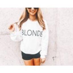 Blonde Womens CrewNeck Sweatshirt, Blonde Brunette Sweatshirt, Cute Graphic Top, Workout Sweatshirt Ladies Graphic Crewneck, Bestie BFF Top | Etsy (US)