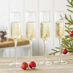 Oh What Fun 8 oz. Gold Dot Contemporary Champagne Flutes (Set of 4)   Overstock